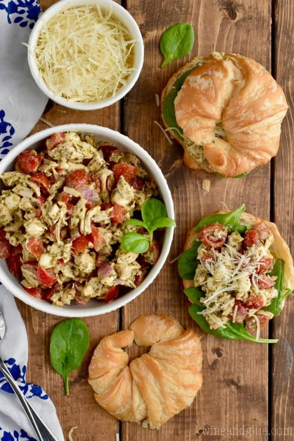 This Italian Pesto Chicken Salad is the best spin on chicken salad! Delicious and perfect for feeding a crowd!