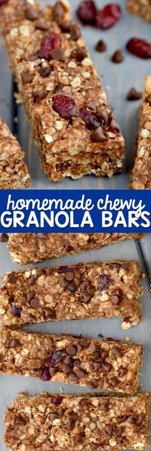 The Homemade Chewy Granola Bar has a golden brown color topped with dried cranberries and mini chocolate chip.