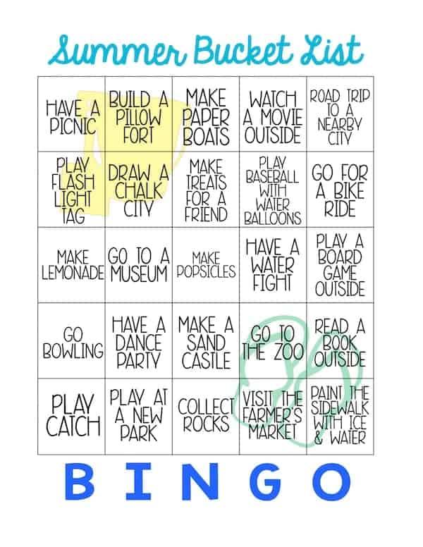 The printable version of the Summer Bucket List Bingo