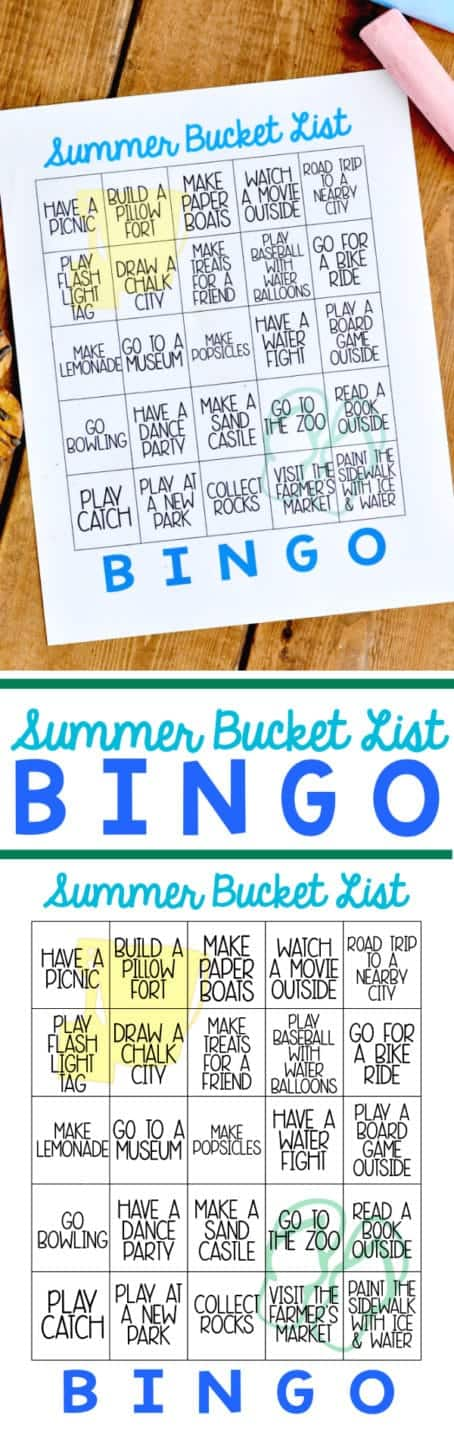 An overhead photo of the Summer Bucket List Bingo.