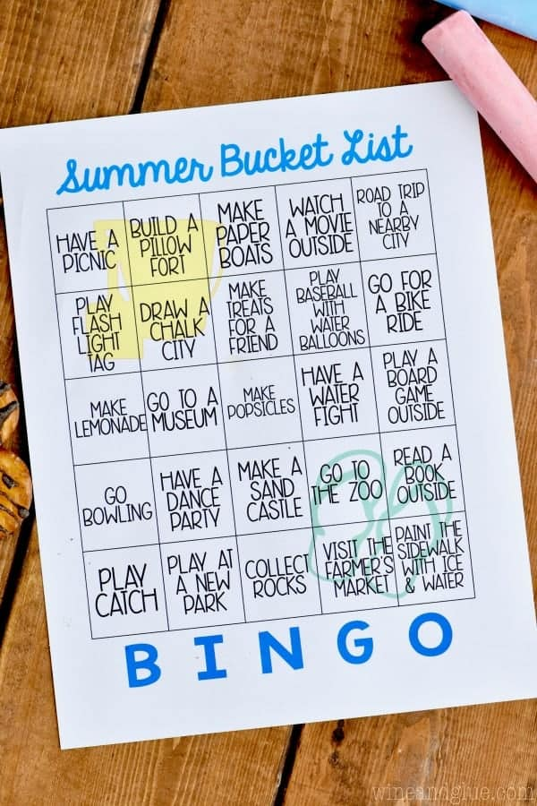 Free Printable Summer Bucket List Bingo - Wine & Glue