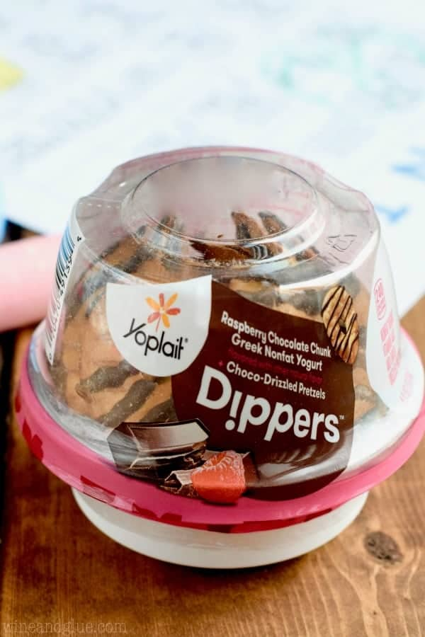 A picture of Yoplait's Raspberry Chocolate Chunk Greek Nonfat Yogurt Dippers.