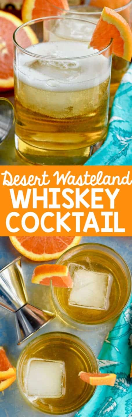 In a glass, the Desert Wasteland Whiskey Cocktail has a large cube of ice and a slice of orange on the brim of the glass.