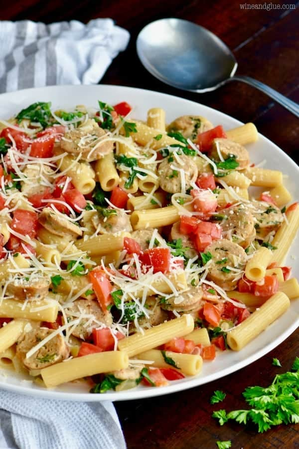 This One Pot Sausage and Pasta Skillet is an easy 30 minute dinner that your family will love!