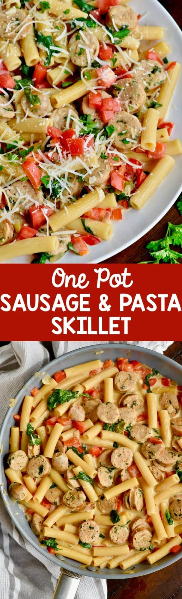 Sausage Pasta Skillet is a one-pot, easy 30-minute dinner that your family will love!