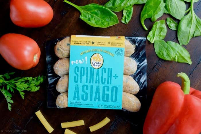 A photo of Goldin Plump Spinach + Asiago Sausage.