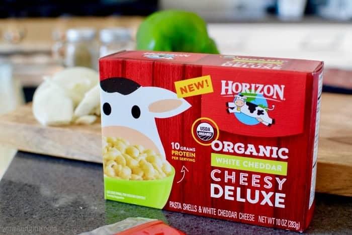 A box of Horizon Organic White Cheddar Cheesy Deluxe
