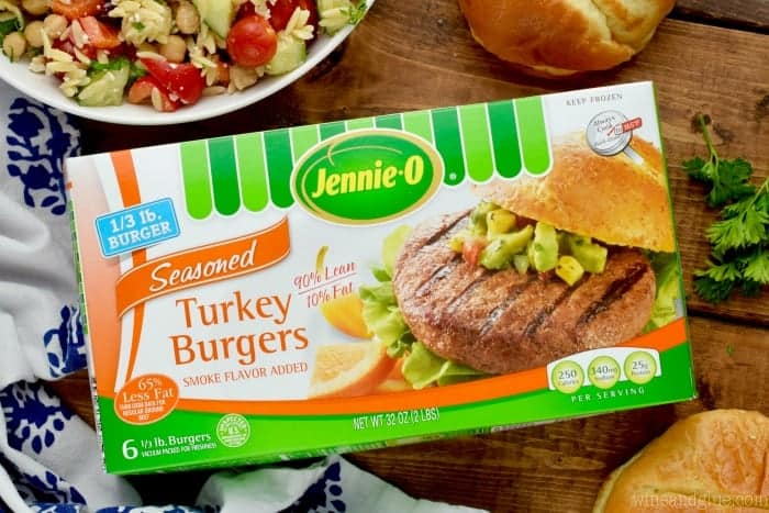 A box of Jennie-O's turkey burgers.