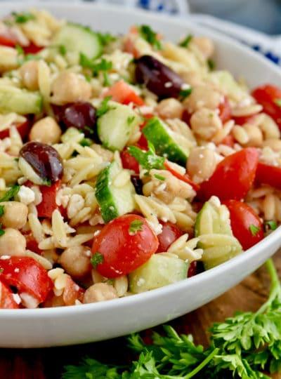Turkey Burgers + Easy Orzo Pasta Salad