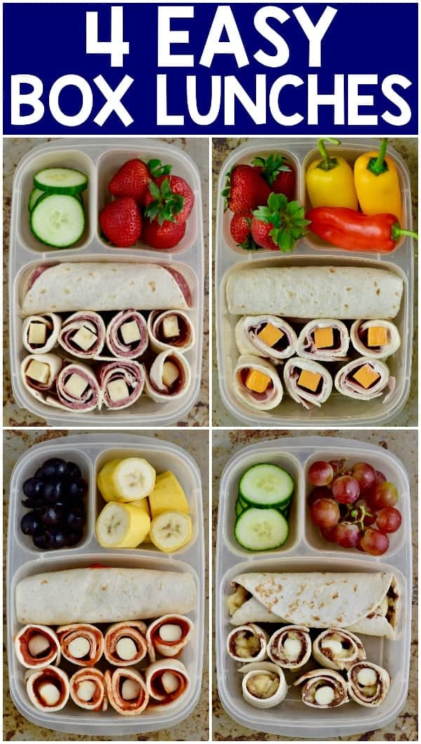 These Four Easy School Lunches add variety to life without still being box lunches that you can feel good about!