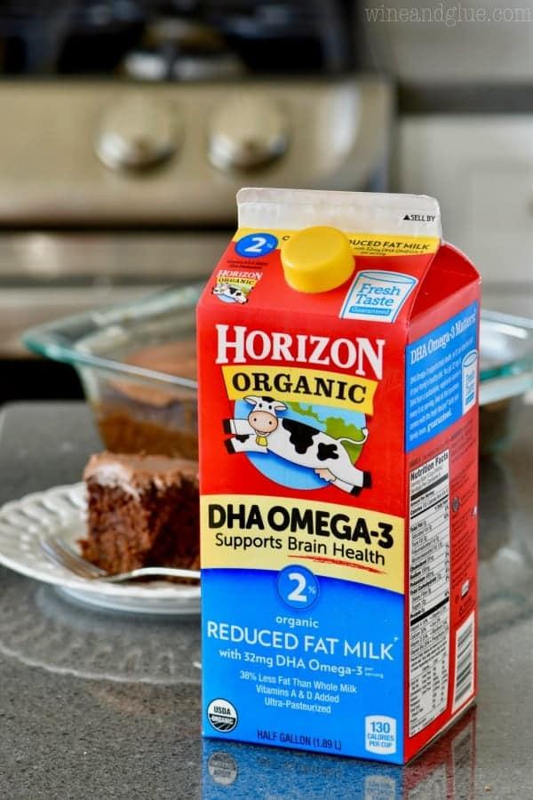 A carton of Horizon's Organic Milk is shown