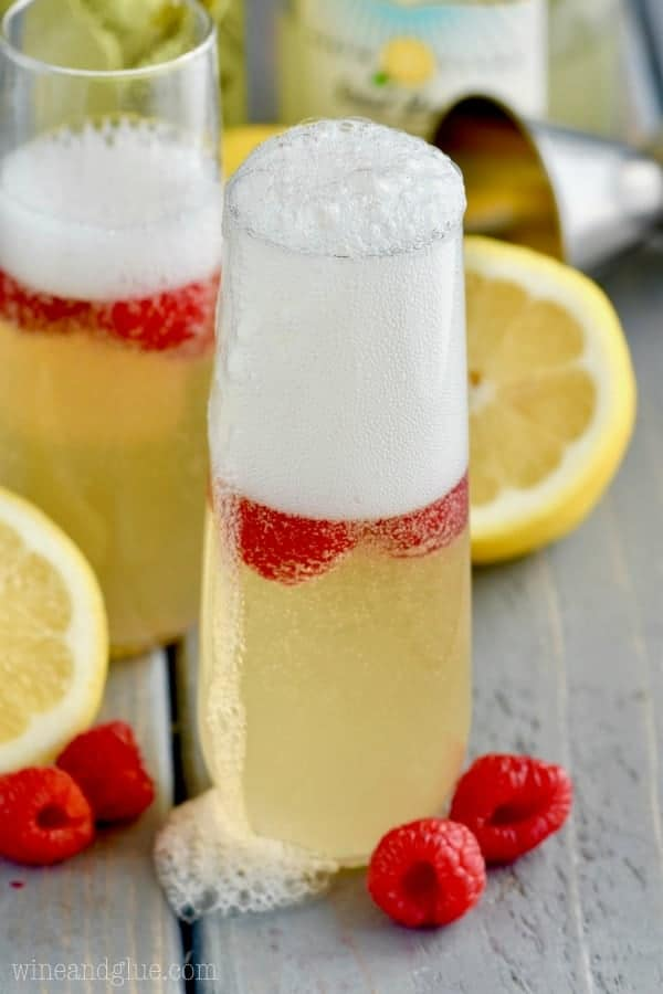 Campagne bubbles are over flowing out of the Lemon Champagne Cocktail