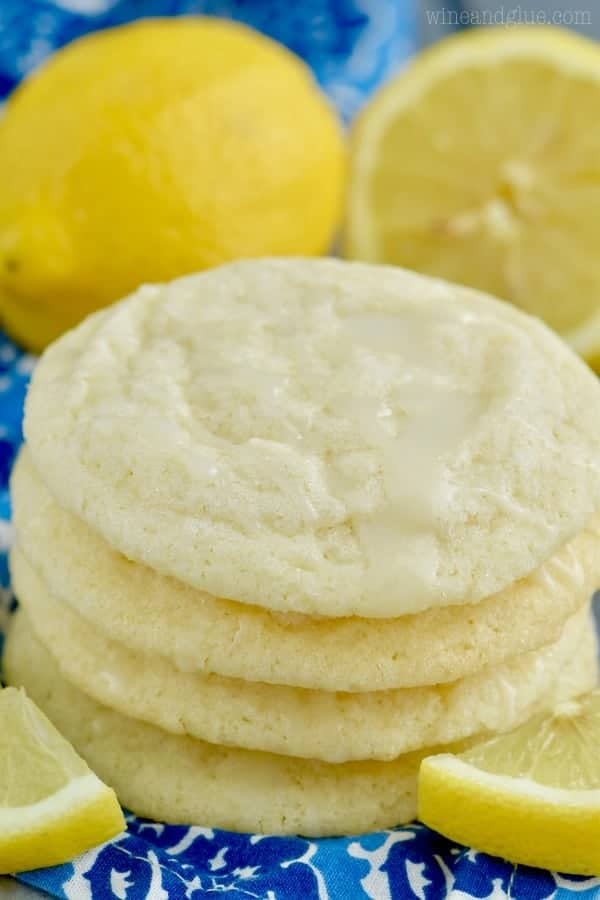 A stack of Lemon Sugar Cookies with a pale crispy outside.