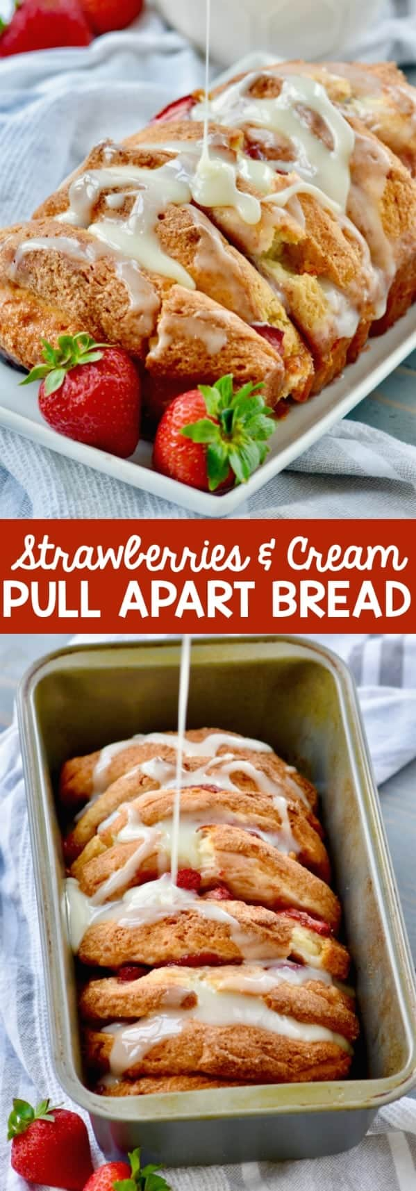 On a white plate, the Strawberries and Cream Pull Apart Bread has a beautiful golden brown crust, and some white cream is being drizzled on top of it.