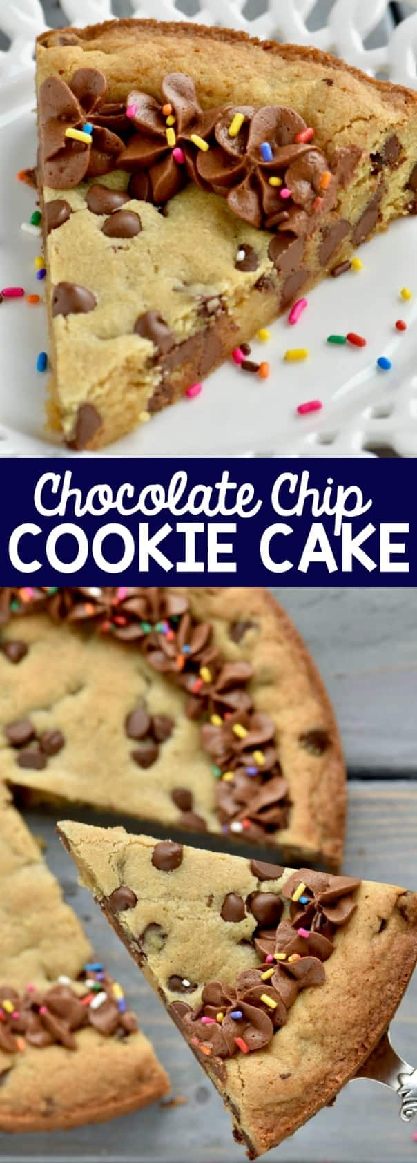 A slice of the Chocolate Chip Cookie Cake with a chocolate frosting border and rainbow sprinkles