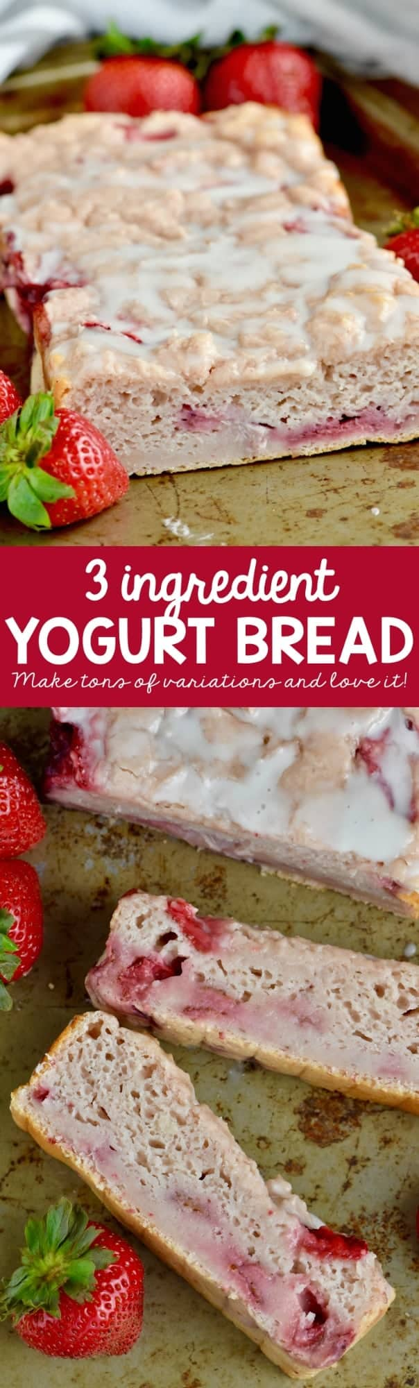 The Three Ingredient Yogurt Bread has a little slice gone and topped with a simple icing.