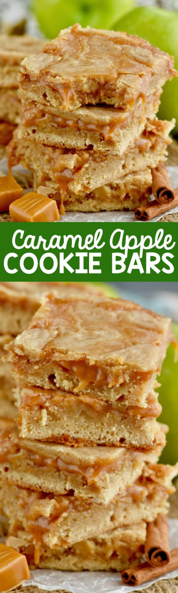 A stack of the Caramel Apple bars that have a beautiful golden brown color and caramel oozing out.