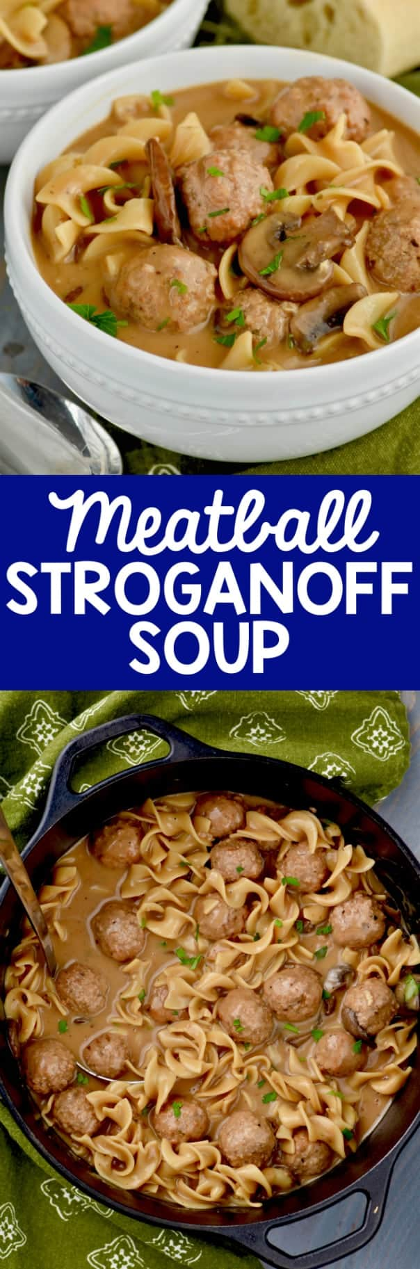 The Meatball Beef Stroganoff are in a white bowl with a slice of bread