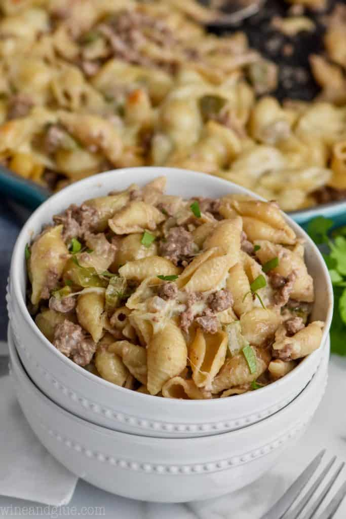 bowl full of philly cheesesteak casserole