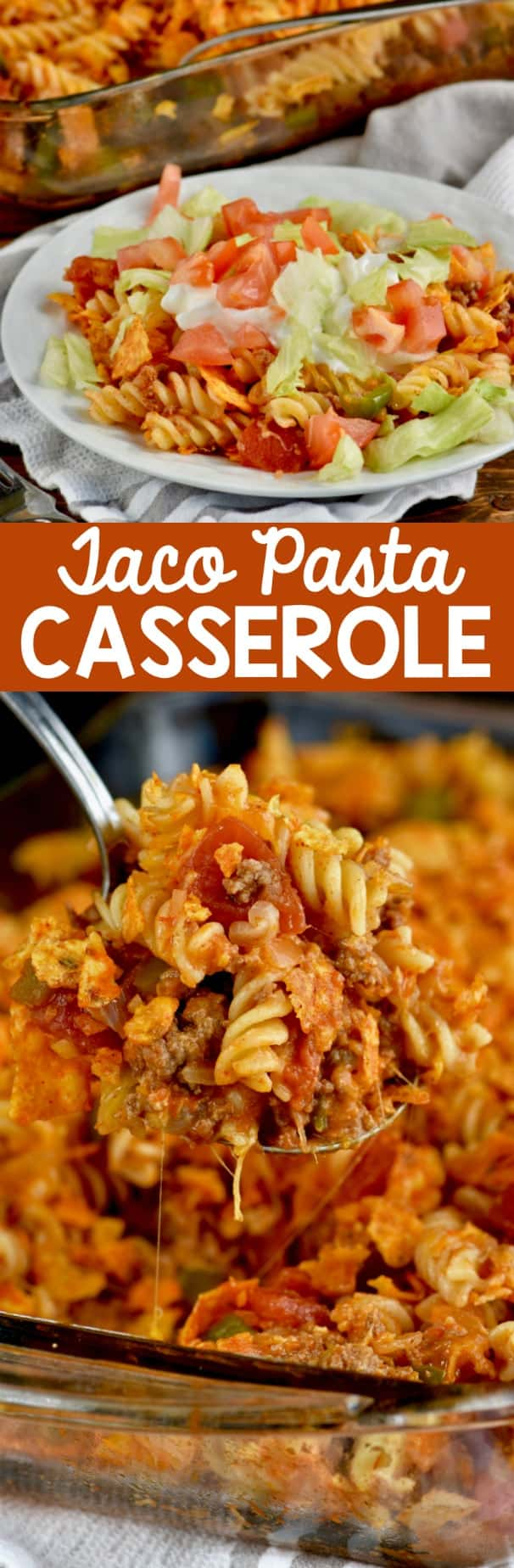 This Pasta Taco Casserole comes together FAST and is such a hearty, comforting dinner!