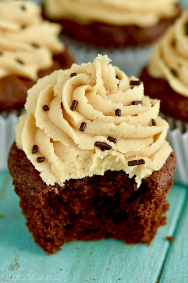With a small bite, the Chocolate Peanut Butter Brownie Cupcakes are topped with a Peanut Butter Frosting with chocolate sprinkles