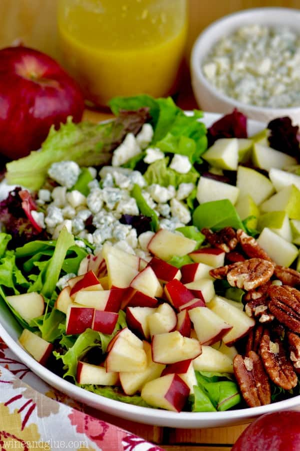 The Apple Pecan Fall Salad with red and green apple slices (sliced into little triangles), pecans, and blue cheese.