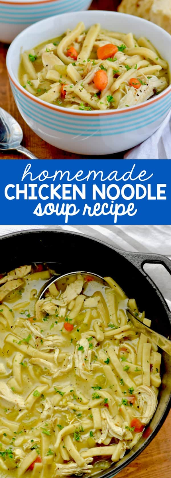 The Homemade Chicken Noodle Soup is a beautiful golden brown color with pops of orange and green from the carrots and celery.
