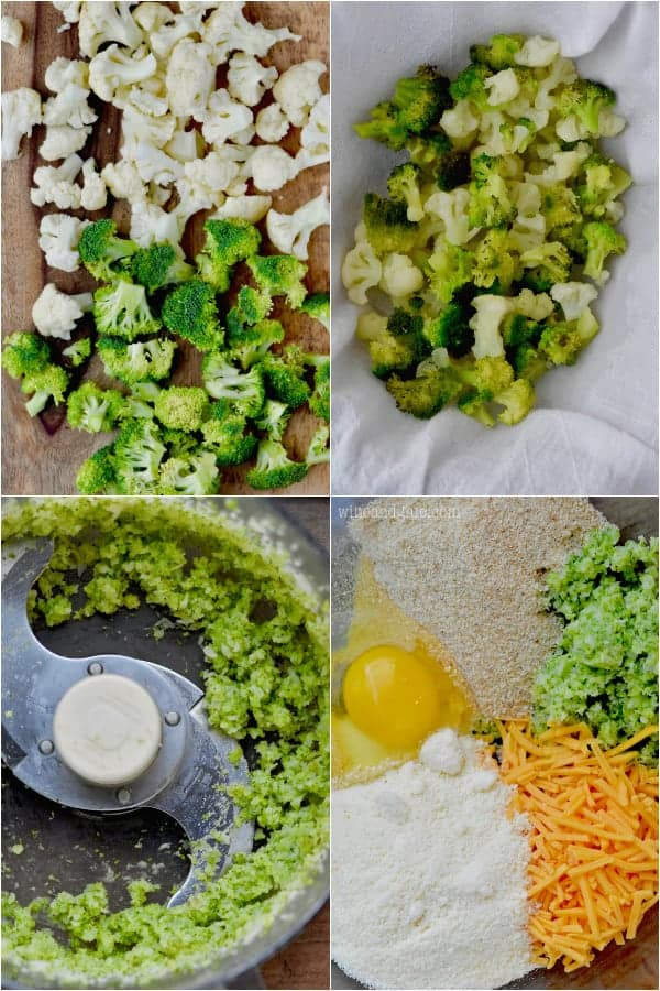 A collage on how to make the Broccoli Cheddar Cauliflower Tator Tot. The Cauliflower and Broccoli cut, then steamed, then chopped up in a food processes.