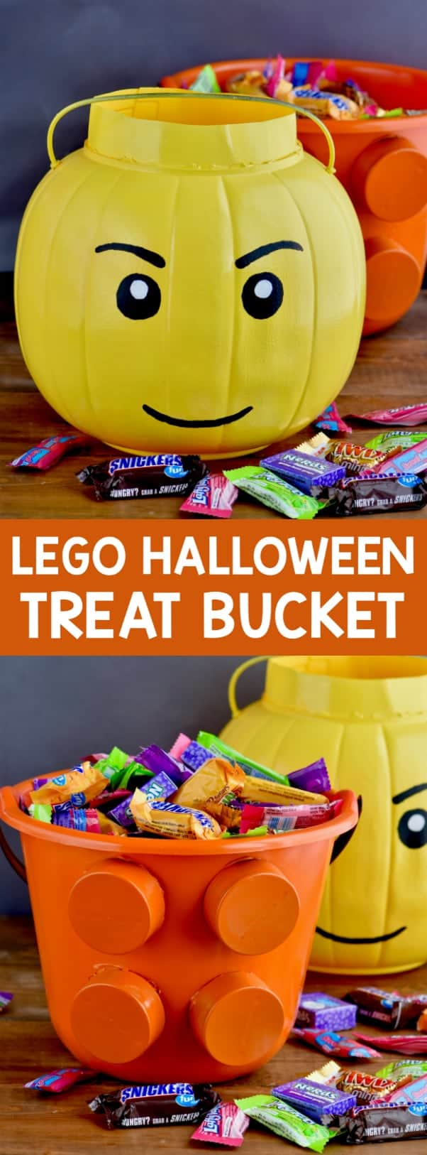 Two Halloween Treat Buckets: one shaped as a lego man head and the other into a lego piece.