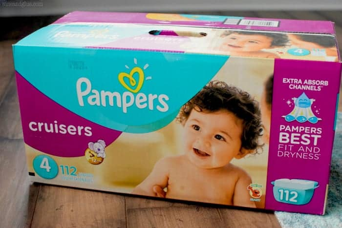 A photo of a box of Pampers Diapers