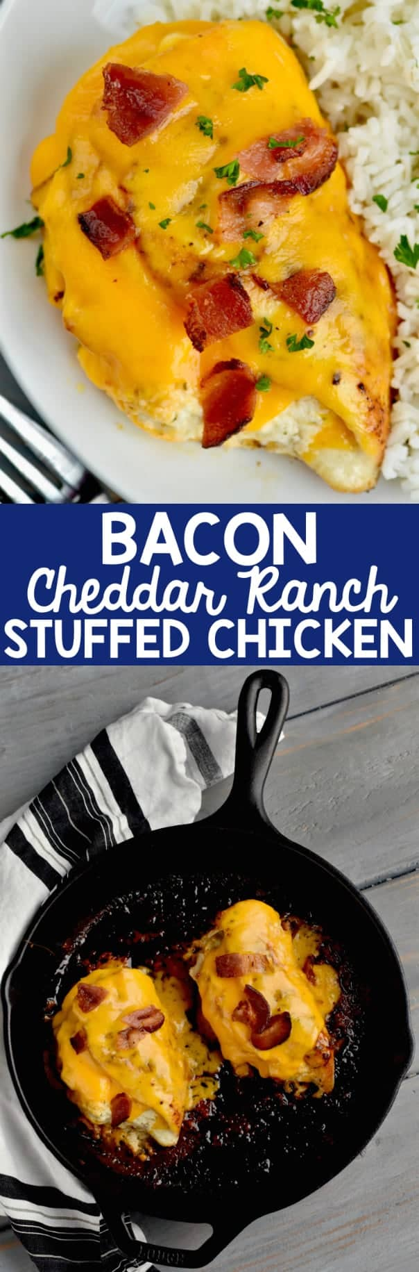 Two photos of the bacon Cheddar Ranch Stuffed Chicken Breast with a side of rice.