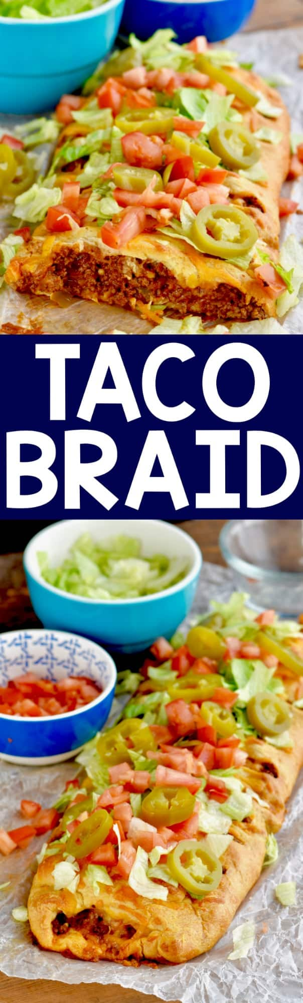 The taco braid has a beautiful golden brown color with taco meat in the middle and topped with lettuce, tomatoes, and jalapeños.