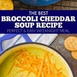 collage of photos of broccoli cheddar soup