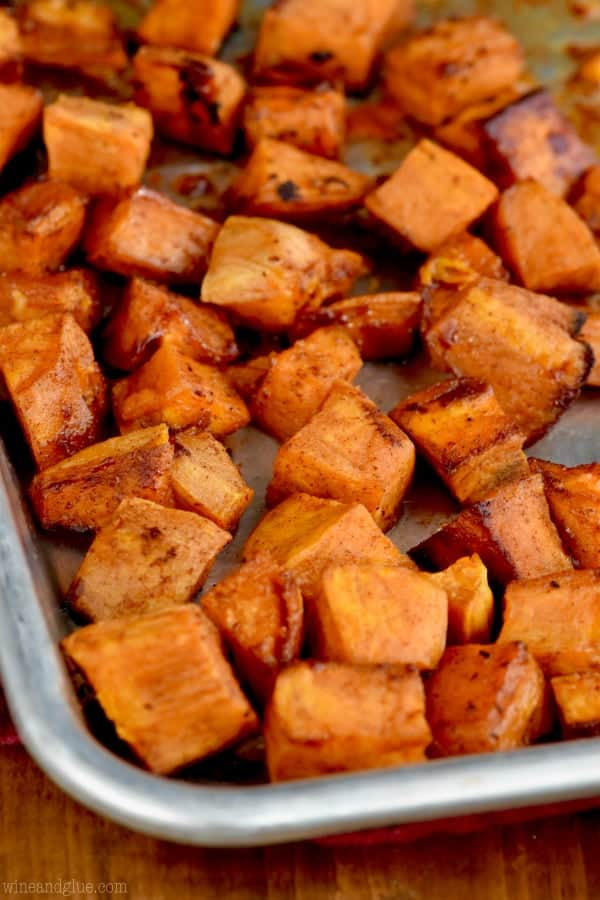 These Brown Sugar Roasted Sweet Potatoes are side dish perfection.