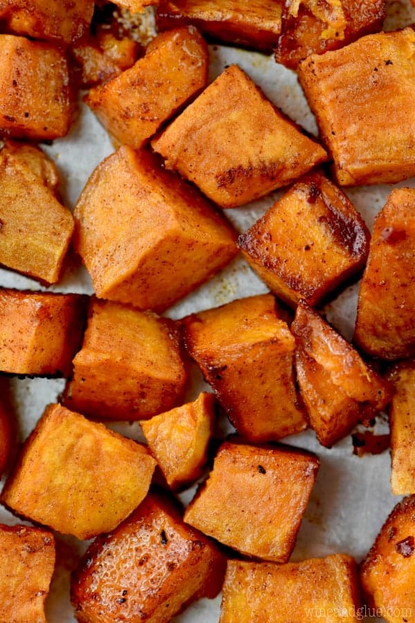 These Brown Sugar Roasted Sweet Potatoes are going to be your new go to side dish.