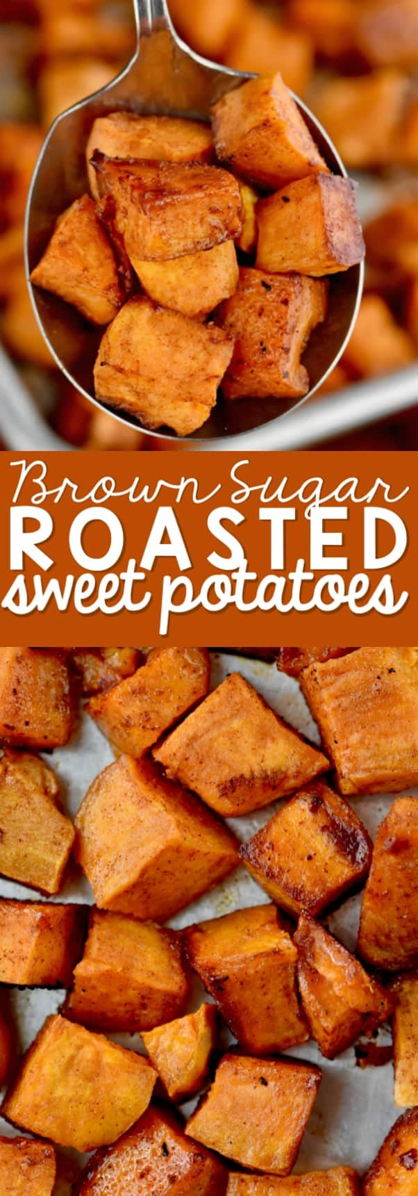 collage of brown sugar roasted sweet potatoes