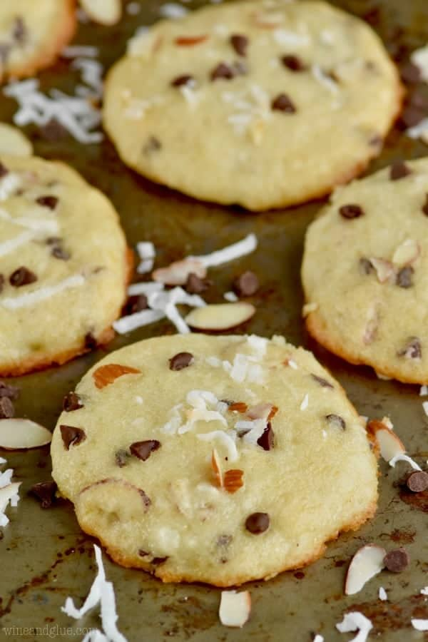 These Chocolate Almond Coconut Yogurt Cookies are the perfect light cookie!