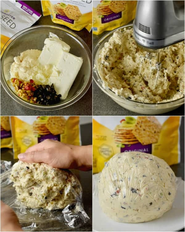 Collage of four photos on the creation of the Olive Cheeseball (a stand mixer combines the ingredients then the clump of cheese is formed using seran wrap.