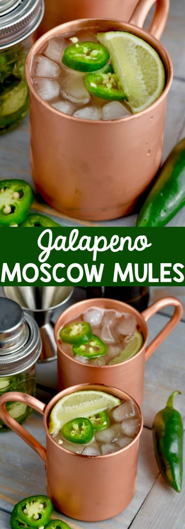 Two copper mugs filled with Jalapeño Moscow Mules topped with sliced Jalapeño and a lime.