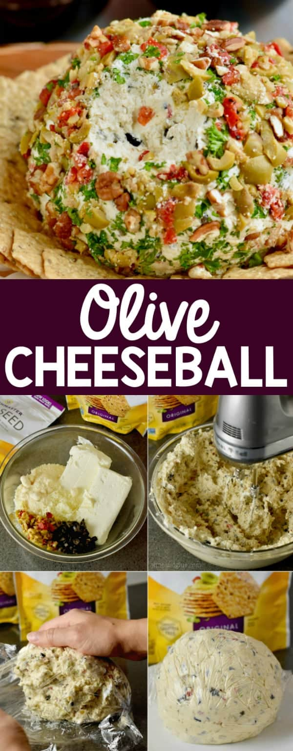 The Olive Cheeseball is covered with pecans, olives, parsley, and parmesan cheese