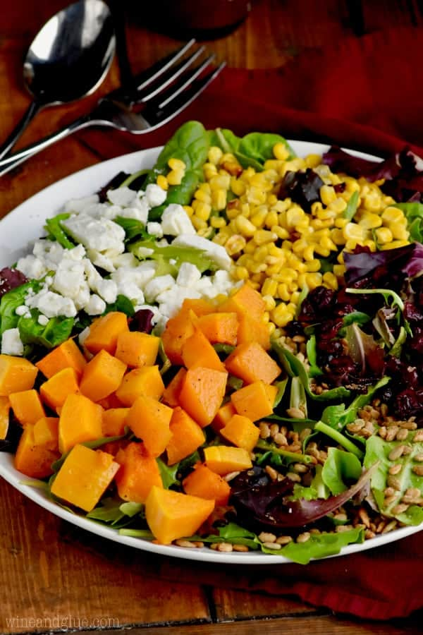 On a white plate, the Roasted Fall Salad with beautiful colors from cranberries, feta cheese, corn, greens, and butternut squash.