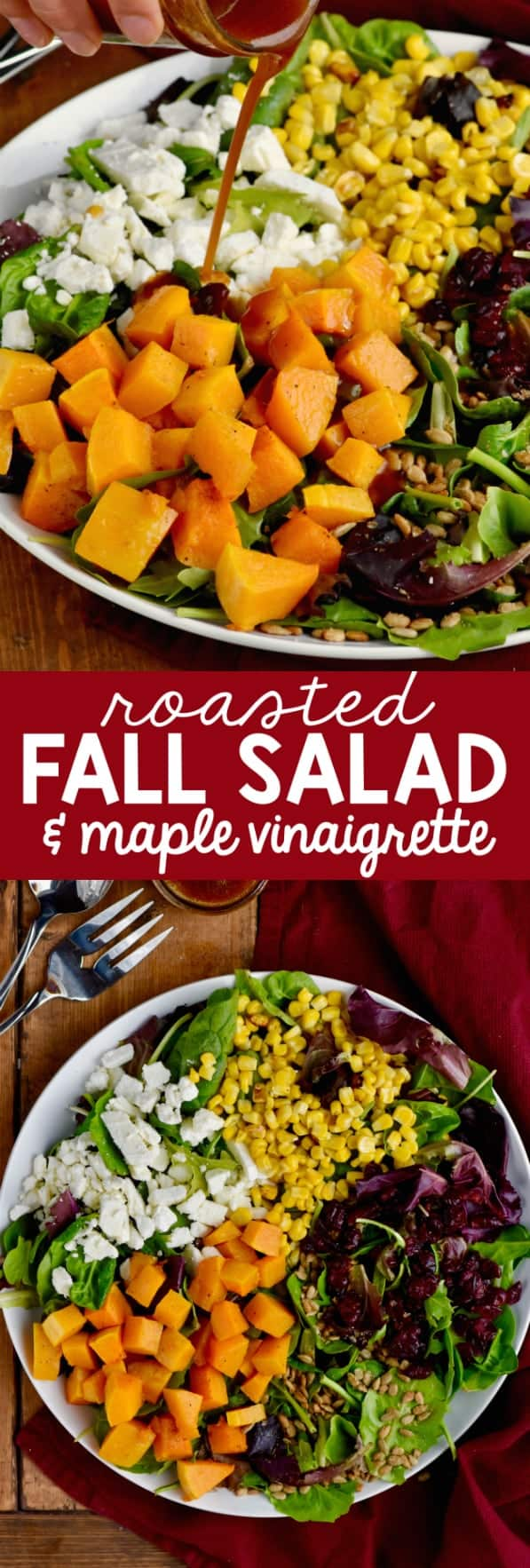 On a white plate, the Roasted Fall Salad with beautiful colors from cranberries, feta cheese, corn, greens, and butternut squash has the Maple Vinaigrette Dressing being poured on top.