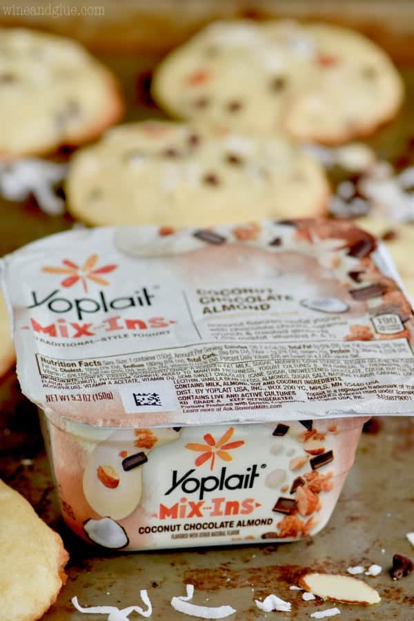 Close up photo of Yoplait's Mix-Ins yogurt.