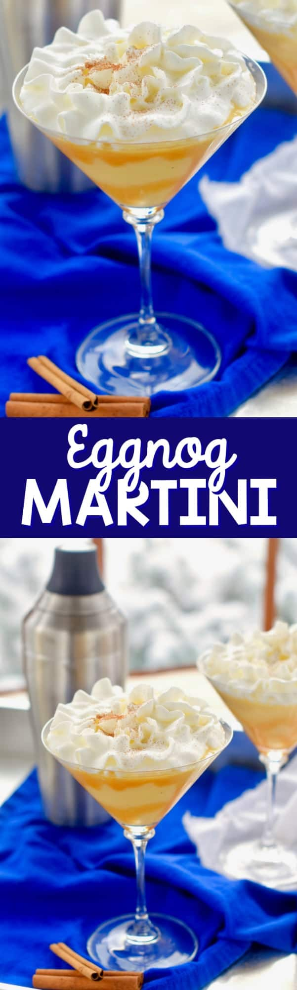 This Eggnog Martini is perfect for your holiday party!  If you can't get enough of eggnog specialty drinks this Christmas cocktail is for you!