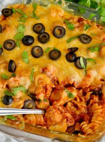 Instant Pot Chicken Enchilada Pasta Casserole