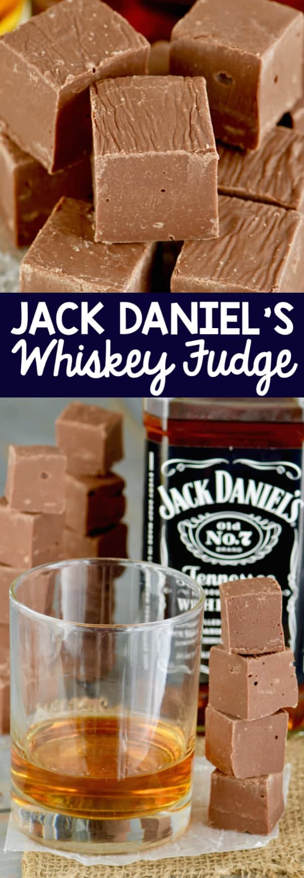 Two photos of the Jack Daniel's Whiskey Fudge that are shaped as a cube.