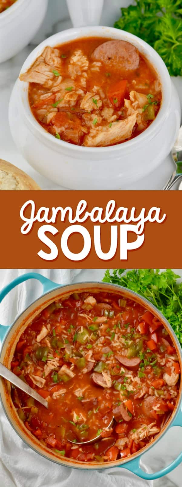 The Jambalaya Soup are in a bowl and a blue pot showing the different meats and vegetables.