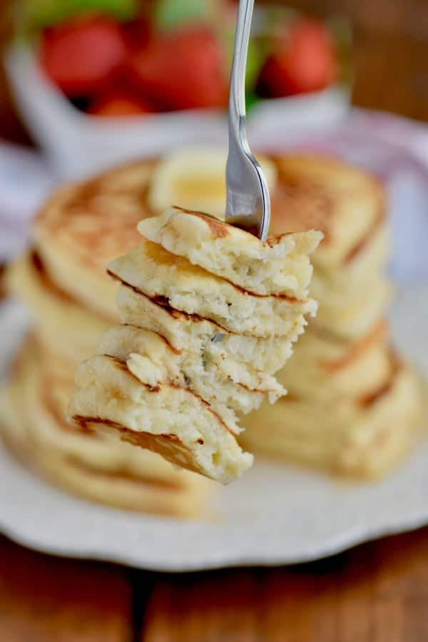 A forkful of the very fluffy Buttermilk Pancakes.