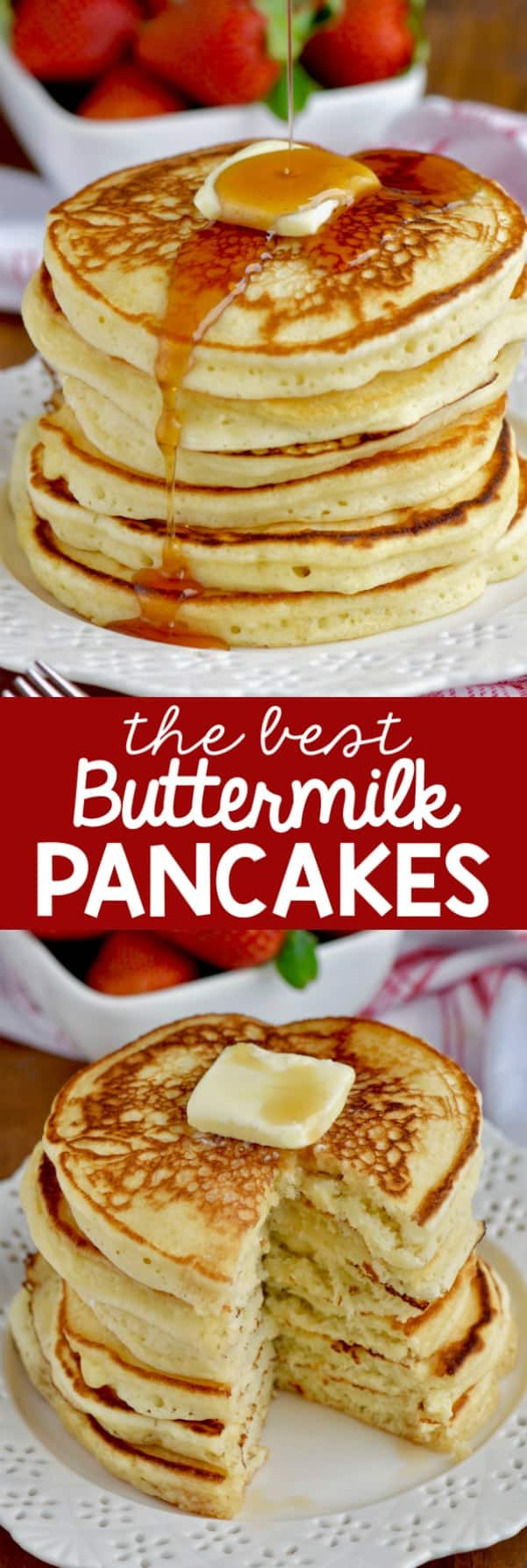 These are the BEST Buttermilk Pancakes. This is such a fluffy buttermilk pancake recipe and with the perfect flavor.