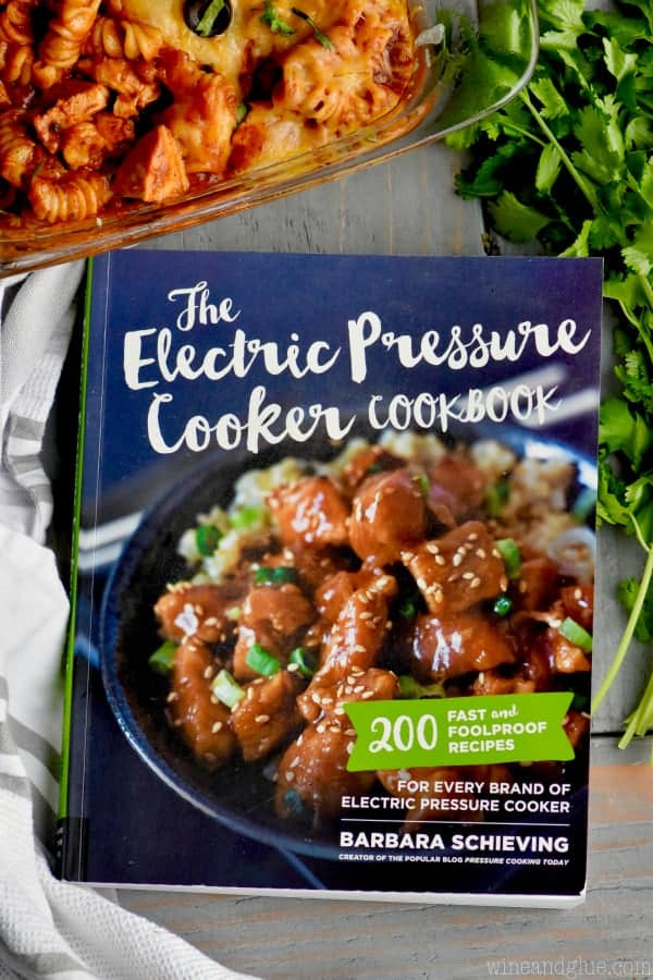 An overhead photo of the book The Electric Pressure Cooker Cookbook by Barbara Schieving.
